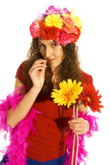 attractive girl with flower hat and pink feathers