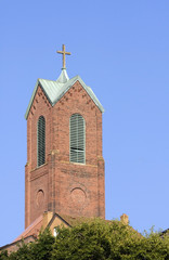 Church Steeple with Blue Sky Background