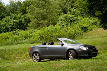 Convertible Parked in a Field