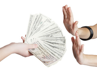 money in hand over white background