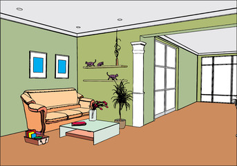 modern open interior (vector)