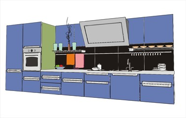 modern kitchen interior (vector image)
