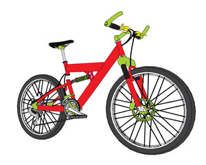 vector mounting bike over the white background