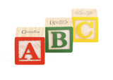 Alphabet blocks lined up to spell abc - isolated on white  poster
