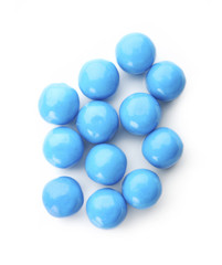 Blue bubble gum balls isolated on white