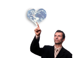 businessman touch earth heart button