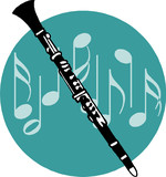Black and white flute on musical blackground