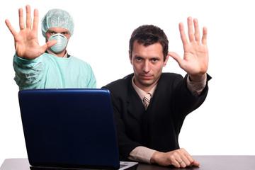 businessman and nurse sign stop