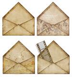 set of vintage envelopes for scrapbook poster