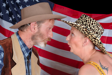 Senior American couple in traditional cowboy Western outfit