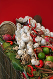 east spicy still-life with garlic and red papper poster