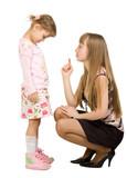 Adult girl swearing little girl poster