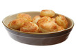 Roast potatoes in an earthware serving dish