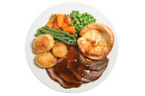 Roast beef, yorkshire pudding and vegetables poster