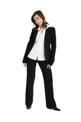 Full body portrait of a young and beautiful business woman