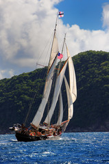 Sailing ship in the Caribbean