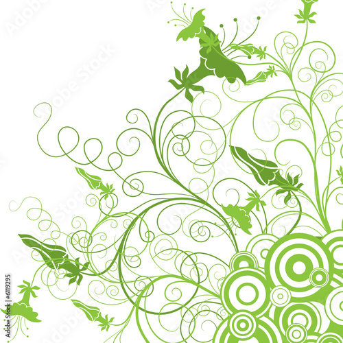 Decorative floral background, vector illustration