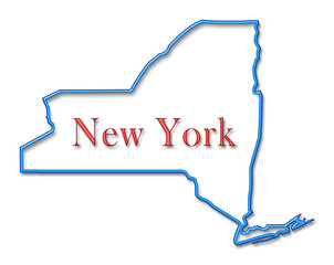 New York Map Outlined in Neon Blue with Red Lettering