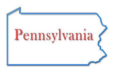 Pennsylvania Map Outlined in Neon Blue with Red Lettering