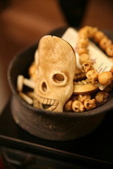 Skull trinkets carved from bone