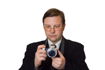 Man with photo camera, isolated on white background