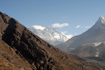 Everest, Lhotse and Ama Dablam with Khumbu Valley