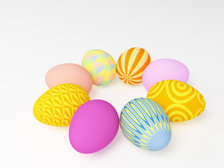 The 3d easter eggs painted in different colors