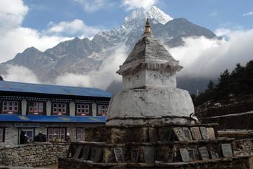Stupa with Om Ma Ne Pad Me Hum stones