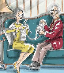 knitting on sofa