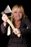 fury blonde woman with axe on black background poster