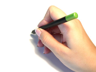 green pencil in hand