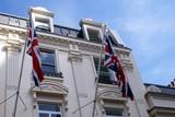 flags of England/ union jack flags. windows. cornice. railings poster
