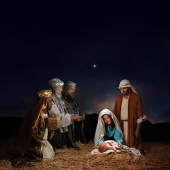Christmas nativity scene with three Wise Men