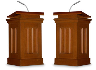 Two opposing podiums