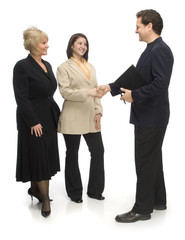 business shaking hands on white