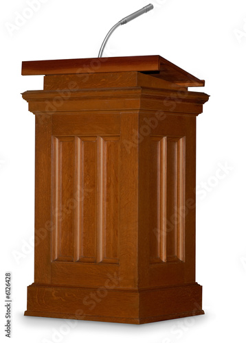 Oak podium isolated on white background with microphone
