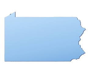 Pennsylvania(USA) map filled with light blue gradient
