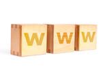 Three wooden letter blocks spelling WWW over white background poster