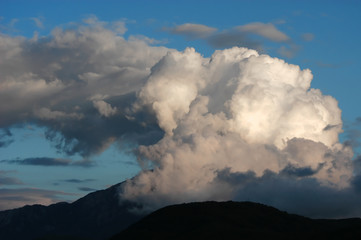 Dangerous stormy clouds above mountain Athos