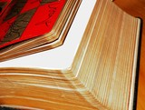 open pages of a book with gold edges