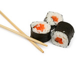 sushi and chopsticks on white, minimal natural shadow underneath poster