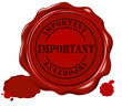 vector wax seal with text: important