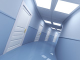 Fototapety Long corridor with many doors