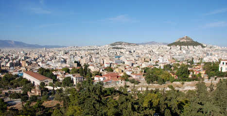 Cityscape of Athens from Philopappou hill.