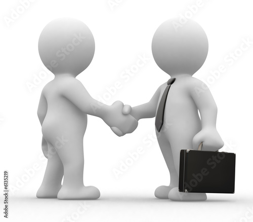 two 3d humans give their hand for handshake