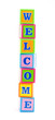 words alphabet blocks studio isolated