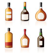 Bourbon, Brandy & Cognac Bottles Icon Set