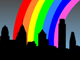Philadelphia skyline with rainbow