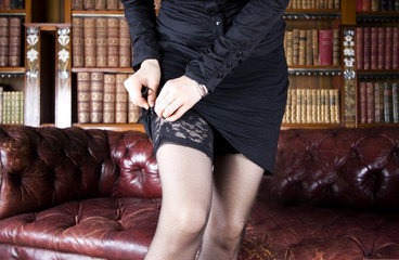 Naughty woman in library
