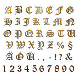 Gold letters ancient with silver edge + numbers